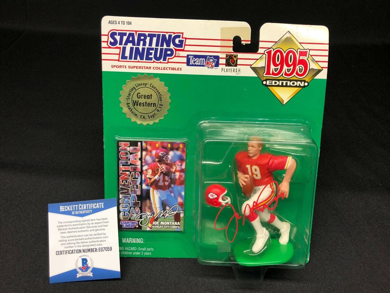 Joe Montana Signed Kansas City Chiefs Football Starting Line Up BAS Beckett