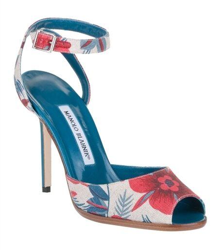 Neu Manolo Blahnik Marga Rot Beige Blaugrün Leinen Sandalen Schuhe 40.5