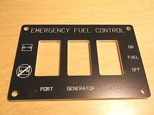 NEW EMERGENCY FUEL CONTROL PANEL PLATE STBD FREE SHIPPING
