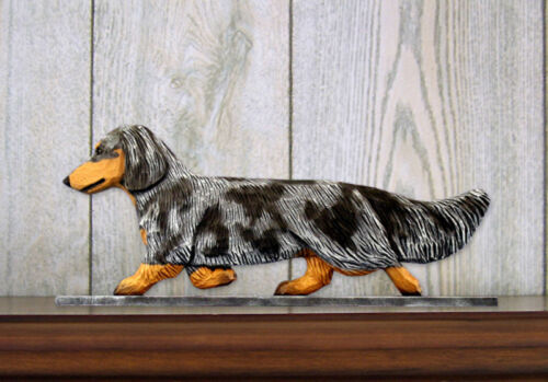 Dachshund Long Hair Sign Plaque Wall Decor Blue Dapple