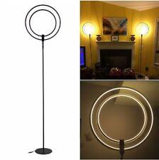 LED Floor Lamp Modern Stylish Futuristic Rings Bright Light 28 Watts Black