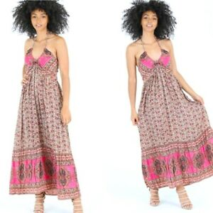 NWT Angie Pink Brown Smocked Halter Floral V-Neck Boho Midi Maxi Summer Dress