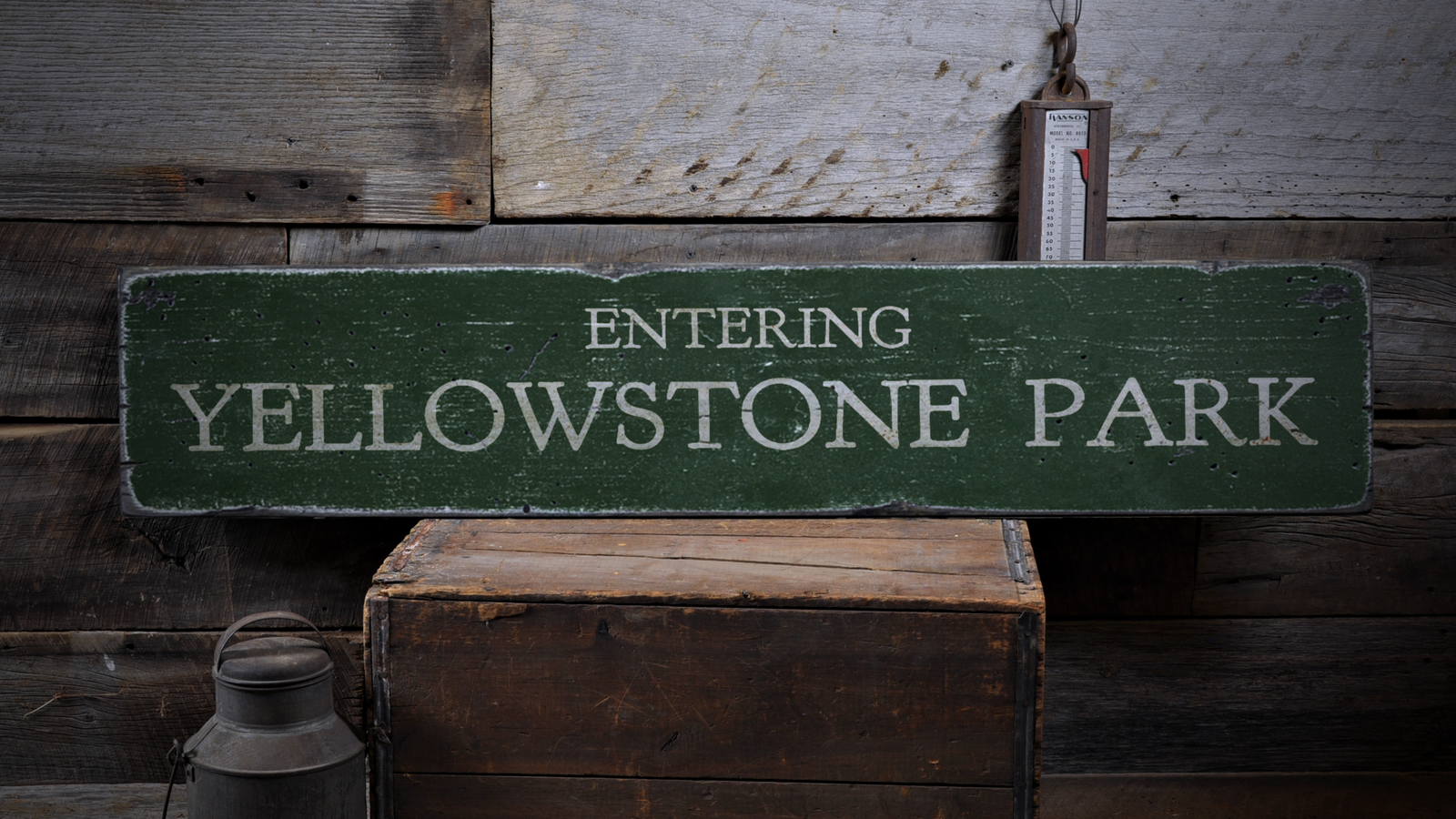 Entering giallostone National Park - Rustic Distressed Wood Sign ENS1001725