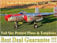 P-38 Lightning Giant 1/5 Scale Rc Airplane Full Size Printed Plans & Templates