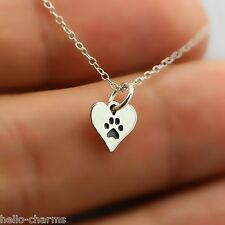 HEART PAW PRINT NECKLACE - 925 Sterling Silver - Pet Dog Charm Cat Animal Paw