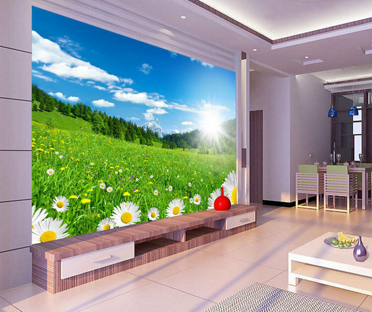 Field Chamomile Flora Macro Full Wall Mural Photo Wallpaper Print Home 3D Decal