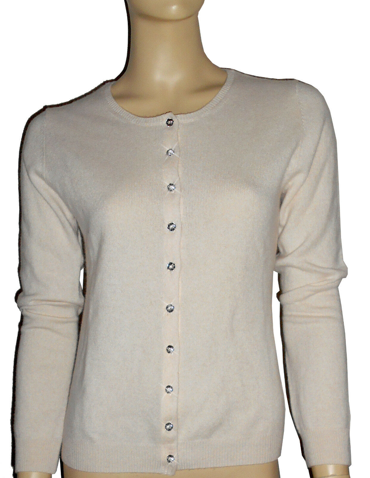 Luxe Oh` Dor 100% Cashmere Cardigan Luxury Nizza Pearl White Crystal 42 44 M L