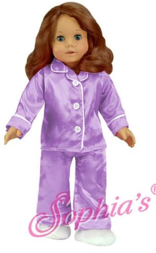 """Doll Clothes 18/"""" Satin Lavender Pajamas Slippers Fits American Girl Dolls"""