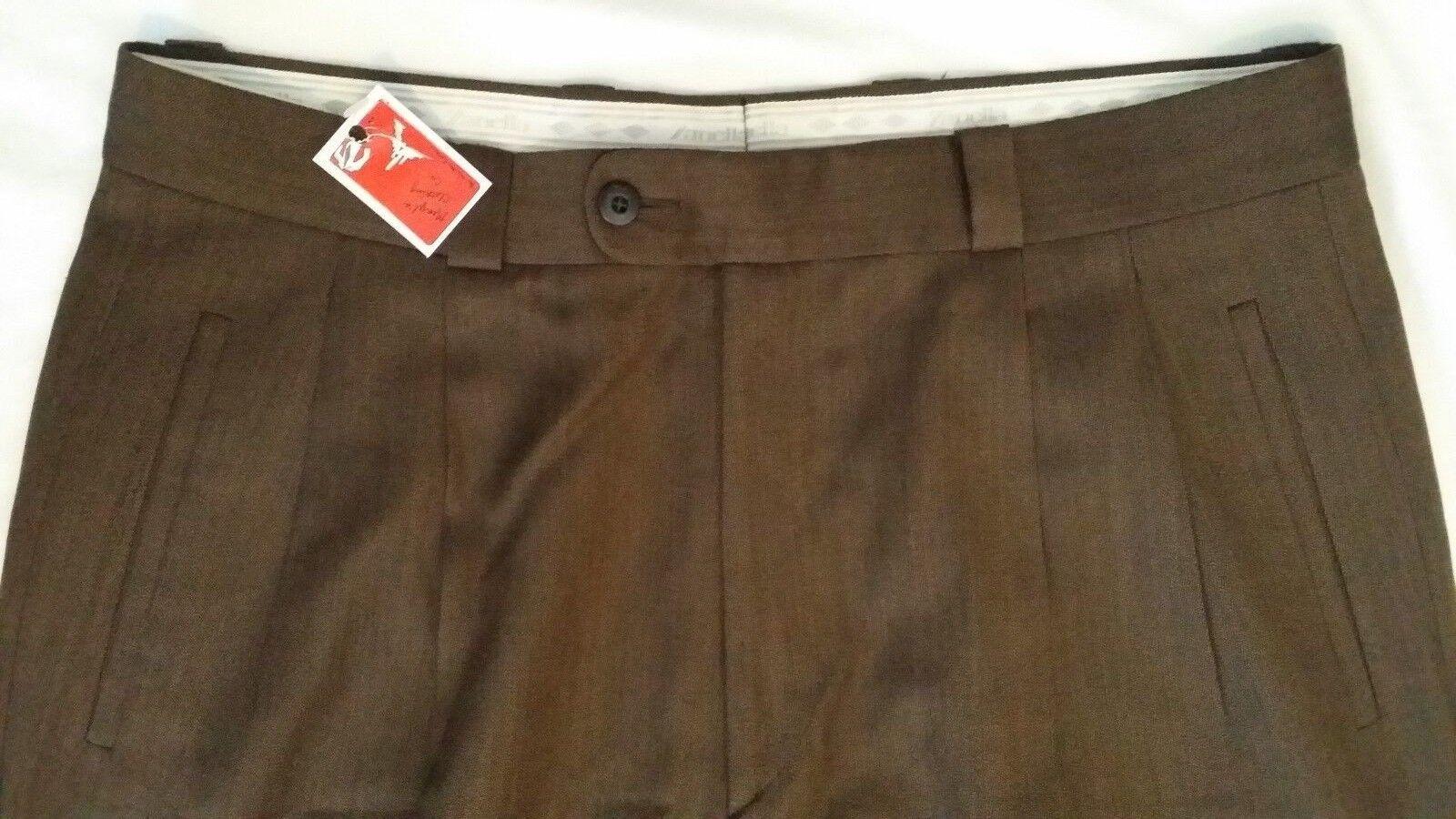 Zanella 100% Wool Brown Pleat Front Dress Pants Men's Size 33 x 32.5 DAVIS