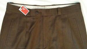 Zanella-100-Wool-Brown-Pleat-Front-Dress-Pants-Men-039-s-Size-33-x-32-5-DAVIS