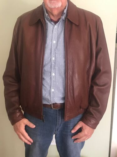 MENS BROWN LAMBSKIN LEATHER BOMBER JACKET SIZE L,