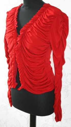 V Ruched Hot V Paris Shirt M uk12 New Red up Miss Lace Blouse Stretchy top neck qwvWpC