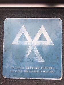 Vintage Metal Car Garage Sign - MOT Testing Centre Worn Patina