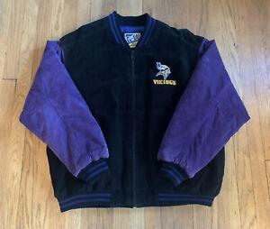 Minnesota-Vikings-Vintage-Leather-Jacket-Carl-Banks-Size-XL-EUC-Rare-NFL-SKOL