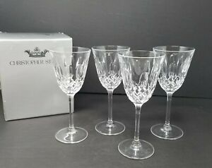 Set-of-4-Christopher-Stuart-CAMEO-7-034-Wine-Crystal-Glasses-w-Original-Box