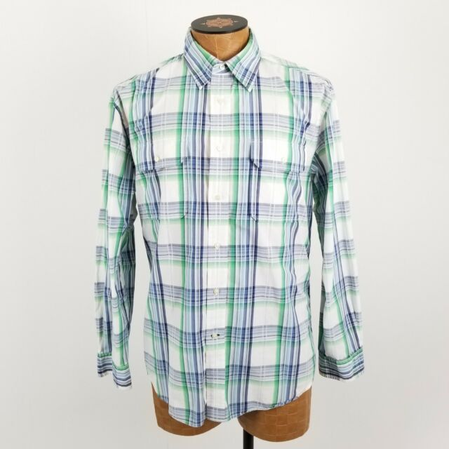 2aae22c0 Tommy Hilfiger Button Down Shirt Mens Size Large Long Sleeve Plaid Blue  Green