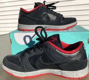 best loved aeeb1 a60d3 Details about Nike SB Dunk Low Pro Black Cement University Red Wolf Grey  Shoes Size 5.5