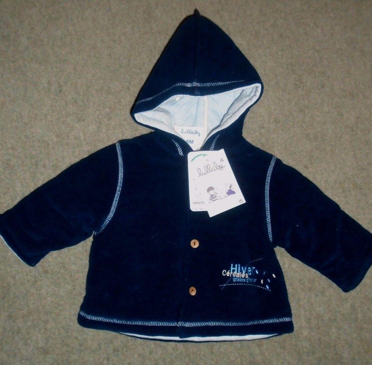 Baby-Lullaby Marineblau Fleece gefütterte Outdoorjacke mit Kapuze Alter 3mths / 62