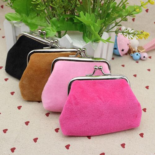 Women Velvet Small Wallet Coin Card Holder Bag Mini Clasp Purse Clutch Handbag