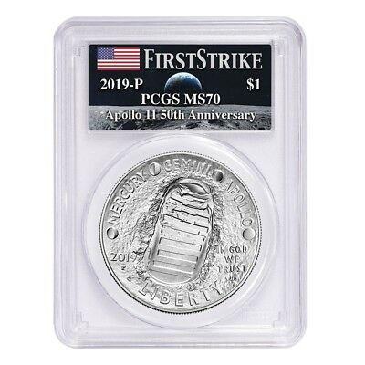 2019-P Apollo 11 50th Ann Commem Silver Dollar PCGS MS70 FS Earth Rising Moon