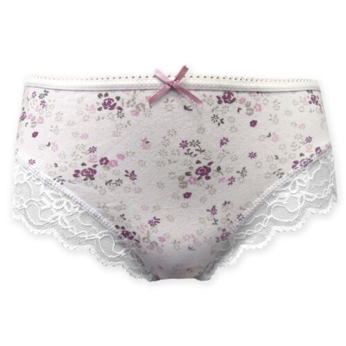 Women/'s Ladies Cotton Lace Trim Brief Pretty Floral Print Slight Imperfect