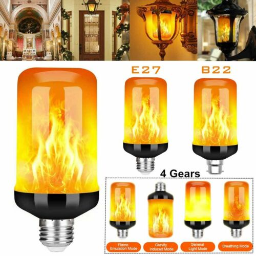 4 Mode E27 LED Flicker Flame Light Bulb Simulated Burning Fire Effect Party Lamp