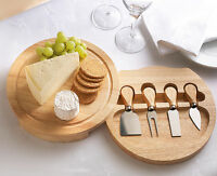 5pc Round Wooden Slide Out Cheese Board and Knife Service Set