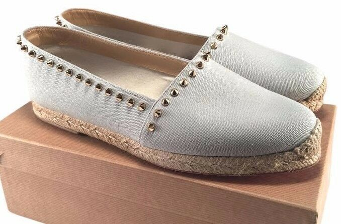 CHRISTIAN LOUBOUTIN ARES bleu 34 4  CANVAS ESPADRILLES FLATS WOMAN chaussures WINTER