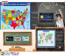 Kids Education World Map Of USA Geography School Fabric Decor Poster B485