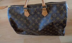 Authentic-LOUIS-VUITTON-SPEEDY-40-Monogram-LV-Logo-Canvas-Bag-Brown-Receipt