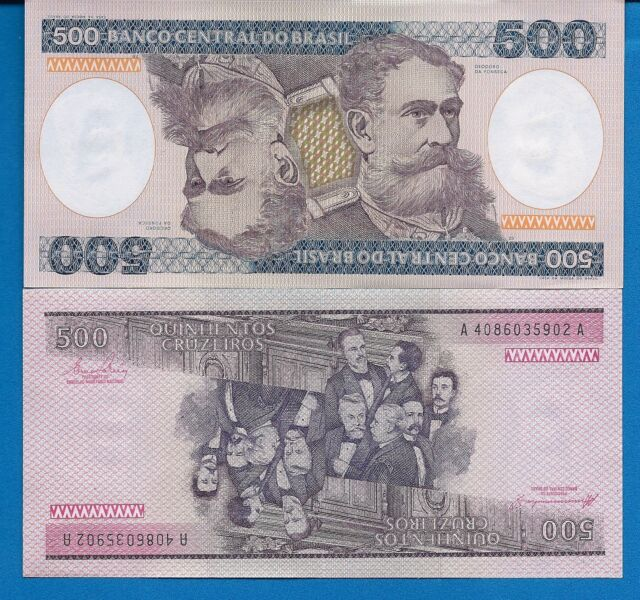 Brazil P-200 500 Cruzeiros Year ND 1981-1985 Uncirculated Banknote