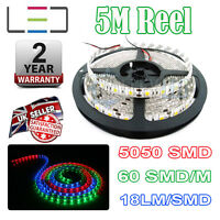 5m 24v RGB LED Strip Light 5050 IP65 300SMD 18LM/SMD 60SMD/m Bright Waterproof