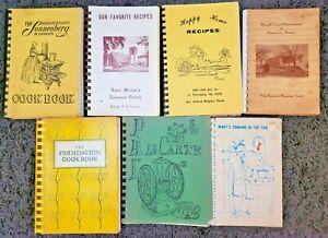 7 VINTAGE SPIRAL COOKBOOKS LOT COMMUNITY LOCAL COOK BOOK VTG HTF RECIPES