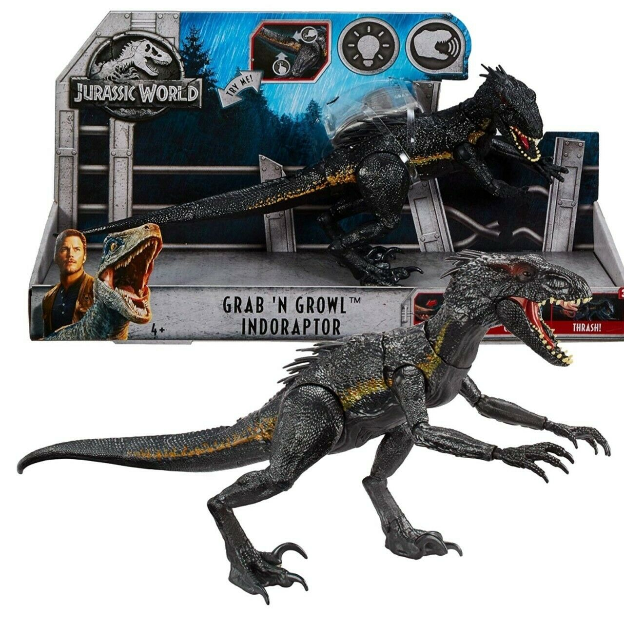 Jurassic World Fallen Kingdom Grab N' Growl Indoraptor Figure Mattel
