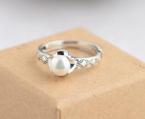 Qualified B11 Ring Süßwasser Perle Dezentes Muster Sterling Silber 925 Größenverstellbar Fine Rings