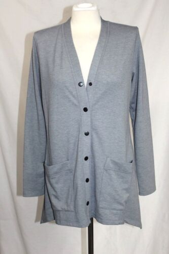 Logo SM NWOT Super Soft Gray Jersey Knit Shark Tail Snap Cardigan