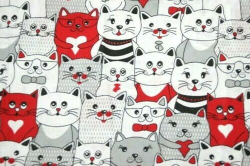 100/% Cotton Red Cats Print Poplin Light Fabric Sew Fat Quarter 50cm X 80cm