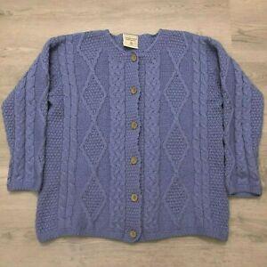 Connemara-Knitwear-Womens-100-Wool-Purple-Knit-Cardigan-Button-Sweater-Sz-Large