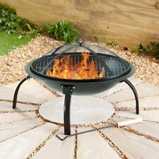Black Fire Pit Folding Steel BBQ Camping Garden Patio Outdoor Heater Burner