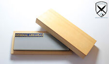 Arkansas Abziehstein Naturschleifstein Messerschärfer ca.150x50mm mit Holzkiste.
