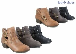 NEW-Women-039-s-Round-Toe-Buckles-Zipper-Low-Heel-Ankle-Booties-Shoes-Size-6-10