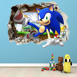 Image is loading SONIC-THE-HEDGEHOG-SMASHED-WALL-STICKER-BEDROOM-BOYS-