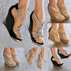 cdb5a1dfed4e95 Image is loading LADIES-SPARKLY-DIAMANTE-DETAIL-WEDGE-HEEL-PLATFORM-PEEP-