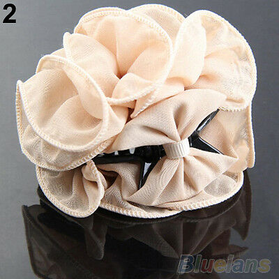 Fashion Korean Womens Chiffon Rose Flower Bow Jaw Clip Barrette Hair Claw Gift