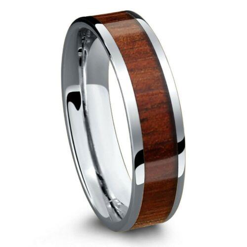 Hawaiian Koa Wood Inlay Mens Jewelry Ring