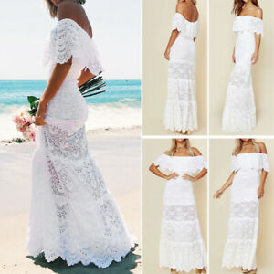 4ae70d92cc5 Sexy Women Off Shoulder Long Lace Dress Maxi Dress Summer Beach ...
