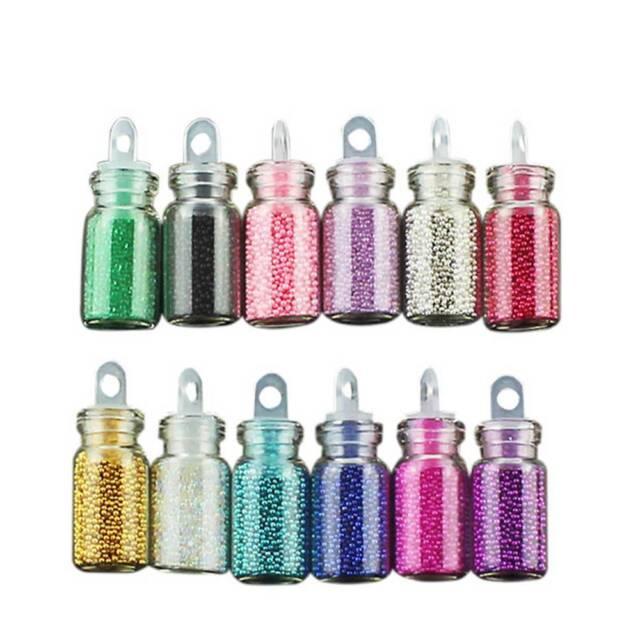 12 Colors DIY Mini Glitter Caviar Micro Beads Tips 3D Nail Art Acrylic UV Gel-