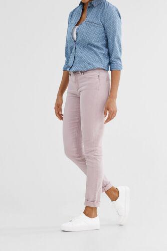 Donna Slim Skinny EX FAMOSA MARCA COLORATE ESPRIT Jeans con zip decorative-Rosa