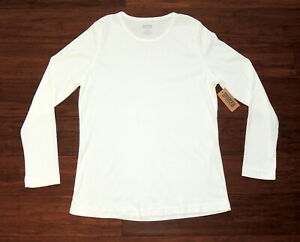 Duluth-Womens-L-Shirt-Stretch-Knit-Long-Sleeve-Pull-Over-White-NEW-26-50
