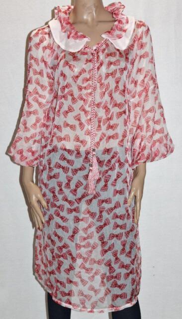 Unbrande Designer Chiffon Bow Skull Print Frill Collar Dress Size XL BNWT #sG104